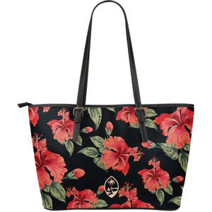 Vintage Hibiscus Guam Black Large Leather Tote Bag Purse