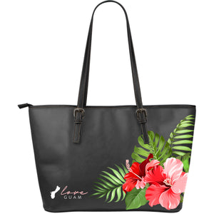 Love Guam Hibiscus Dark Gray Large Leather Tote Bag Purse