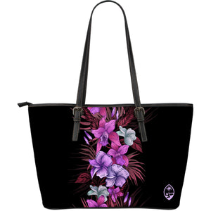 Vintage Purple Flowers Guam Black Large Leather Tote Bag Purse