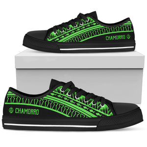 Guam Seal Chamorro Tribal Low Top Shoe Black and Green
