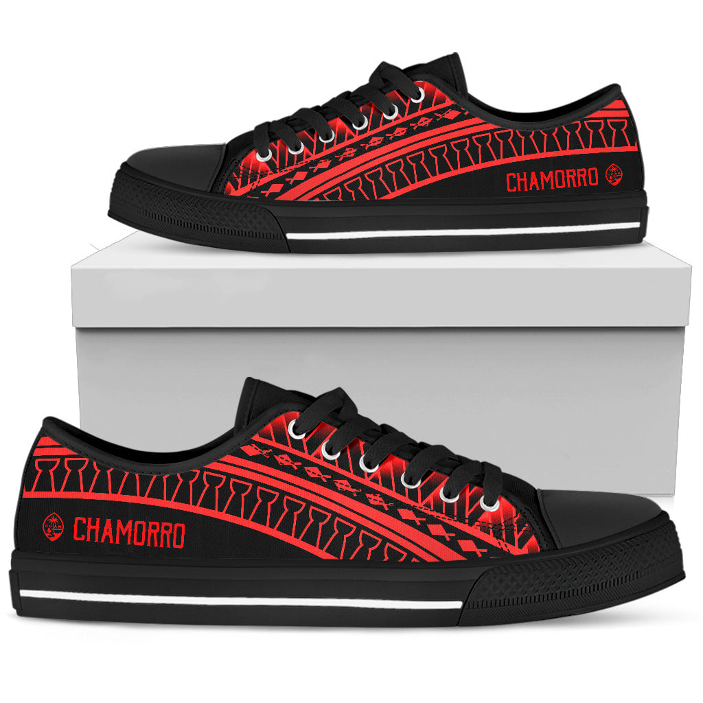 Guam Seal Chamorro Tribal Low Top Shoe Black Red