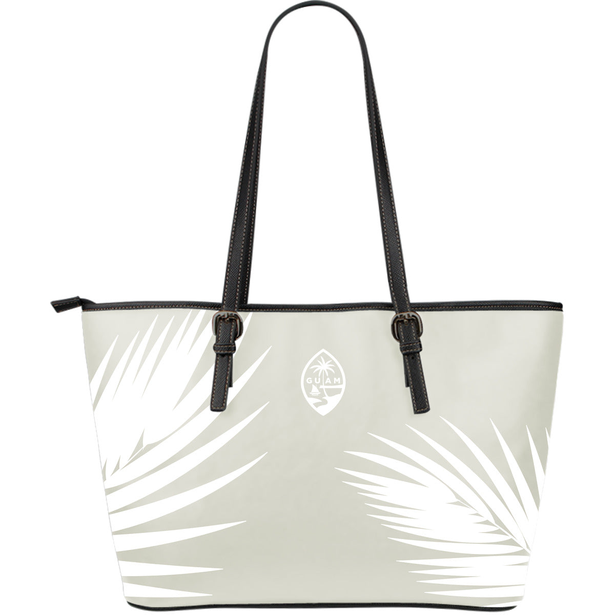 Guam Seal Classy Coconut Leaves Large Leather Tote Purse