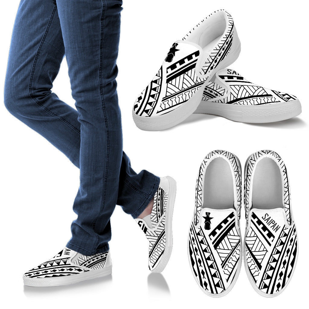 CNMI Saipan Tribal White Design Slip On Shoe