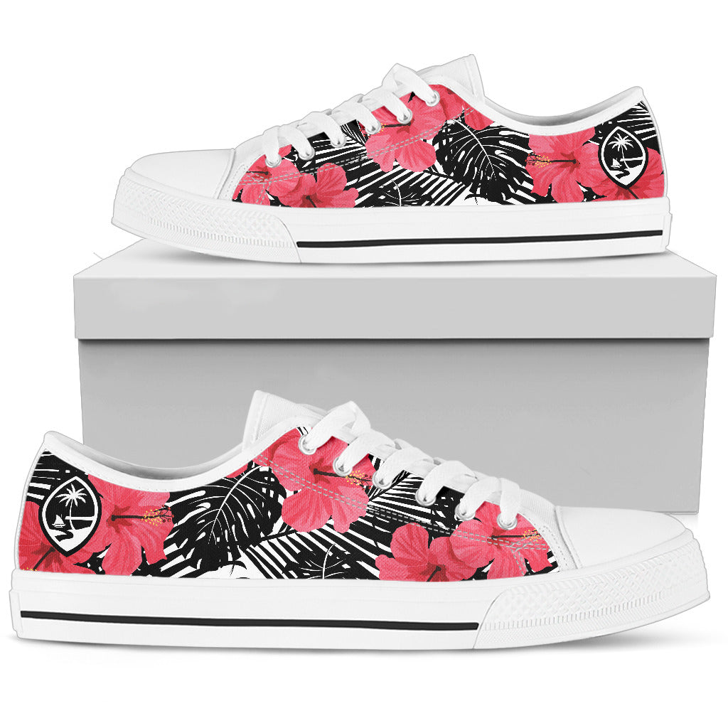 Guam Pink Black Hibiscus Low Top Shoe
