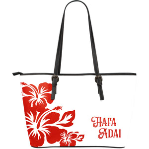 Hafa Adai Red and White Hibiscus Leather Tote Guam Tinian Saipan Rota Purse