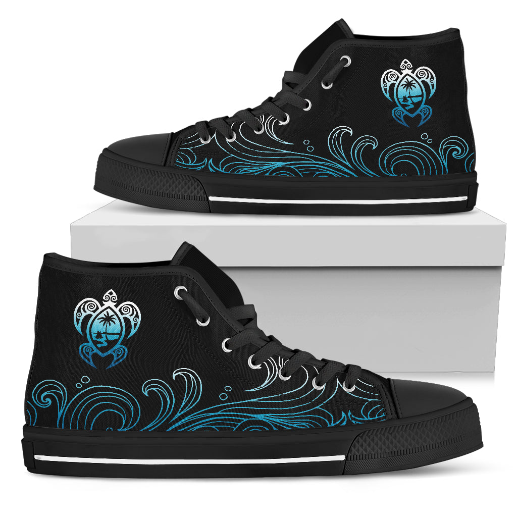Guam Ombre Waves Turtle High Top Shoe