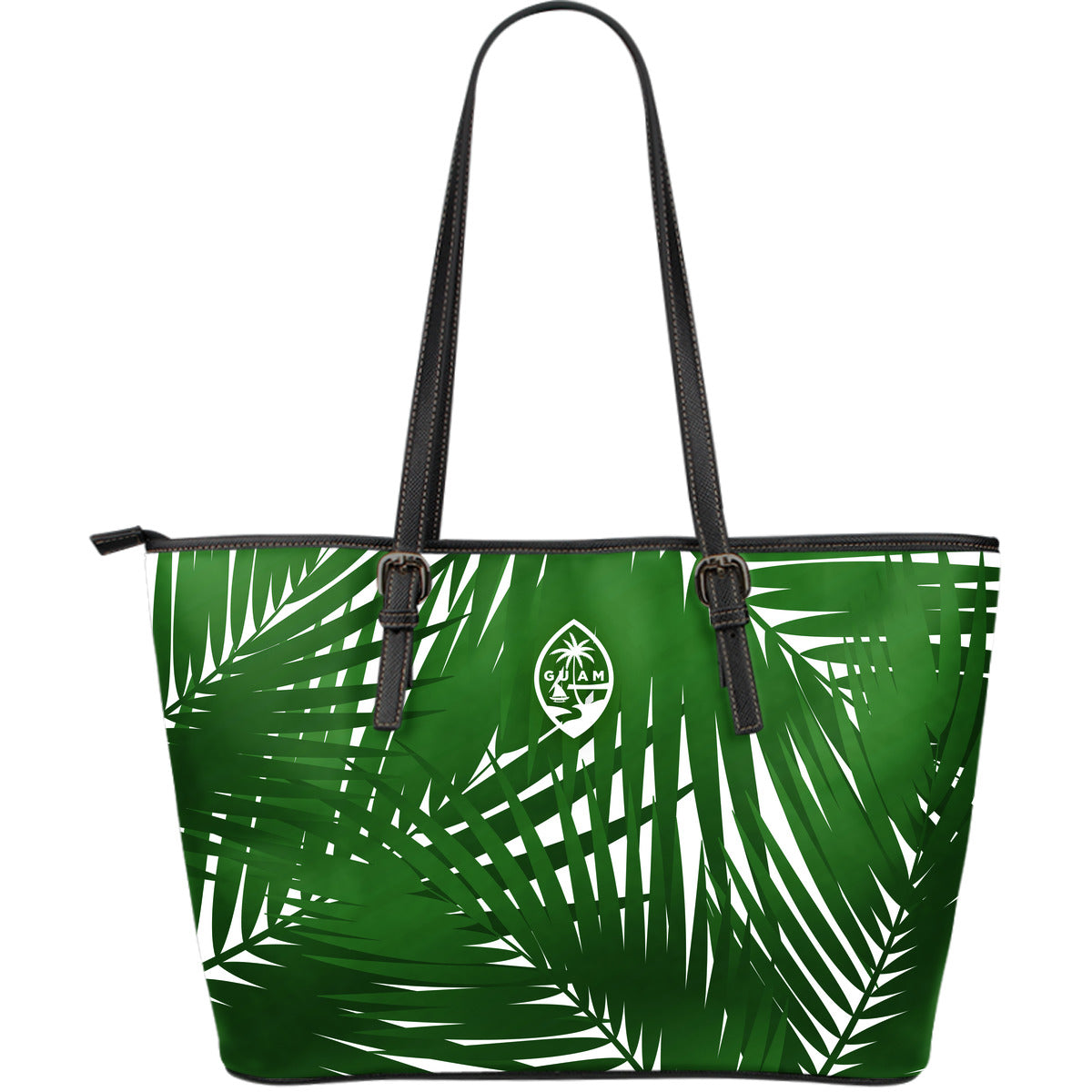 Guam Seal Coconut Leaves Large Leather Tote Purse