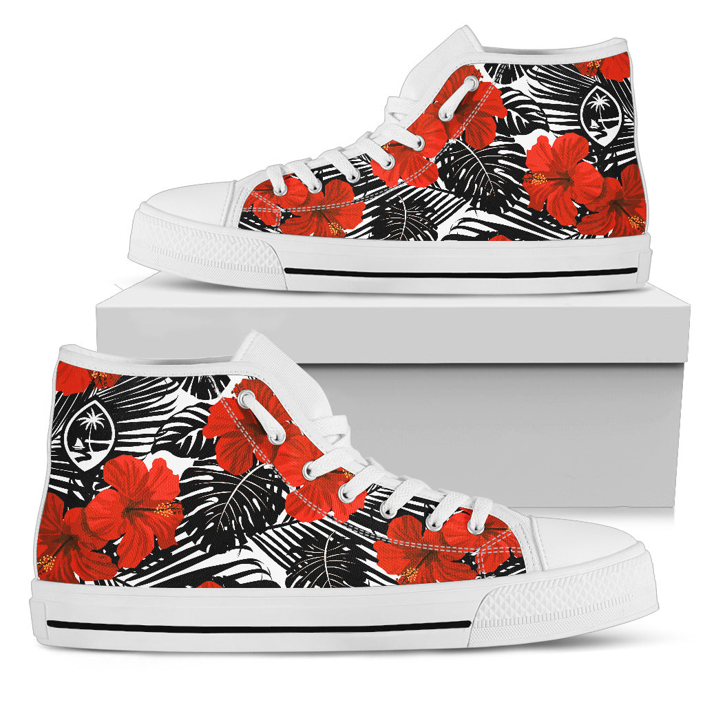 Guam Red Black Hibiscus High Top Shoe White