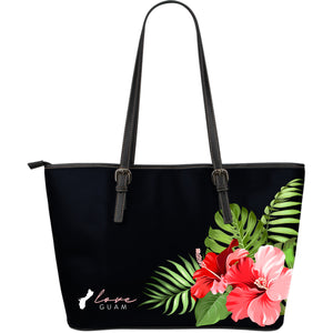 Love Guam Hibiscus Black Large Leather Tote Bag Purse