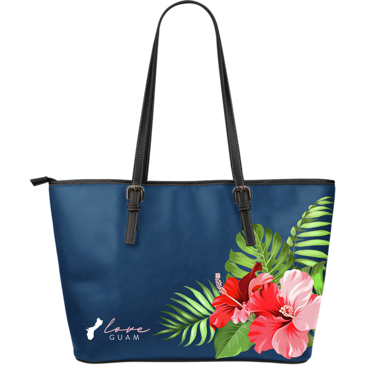 Love Guam Hibiscus Navy Blue Large Leather Tote Bag Purse