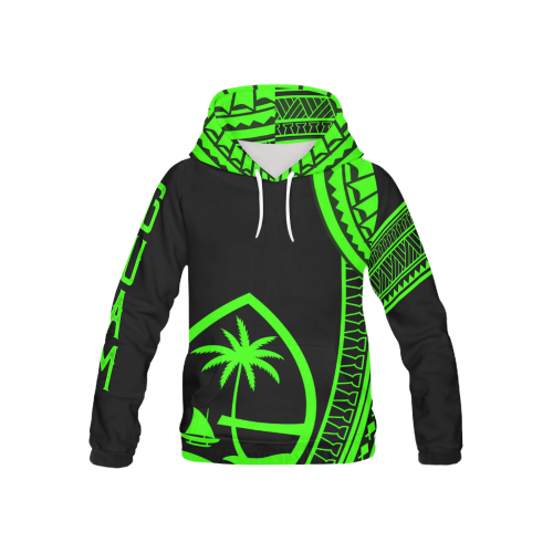 Kids Tribal Guam Seal All Over Black Green Pullover Hoodie
