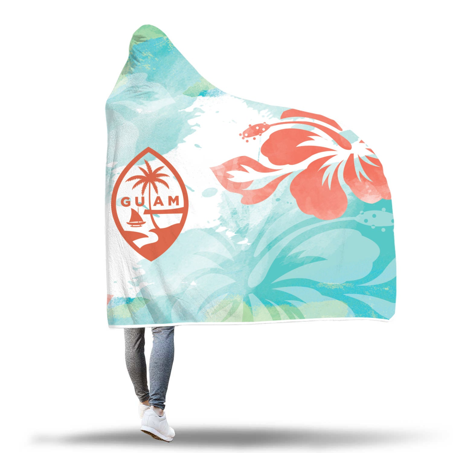 Guam Seal Hibiscus Tropical Chamorro Sherpa Hooded Blanket