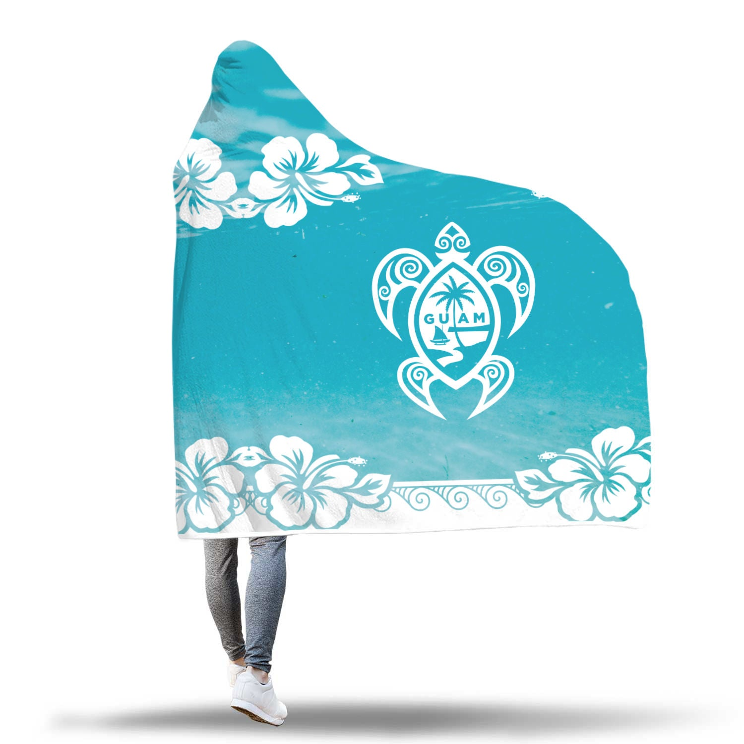 Guam Seal Turtle Hibiscus Underwater Hooded Blanket