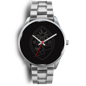 Guam Seal Chamorro Islander Minimalist Design Silver Watch