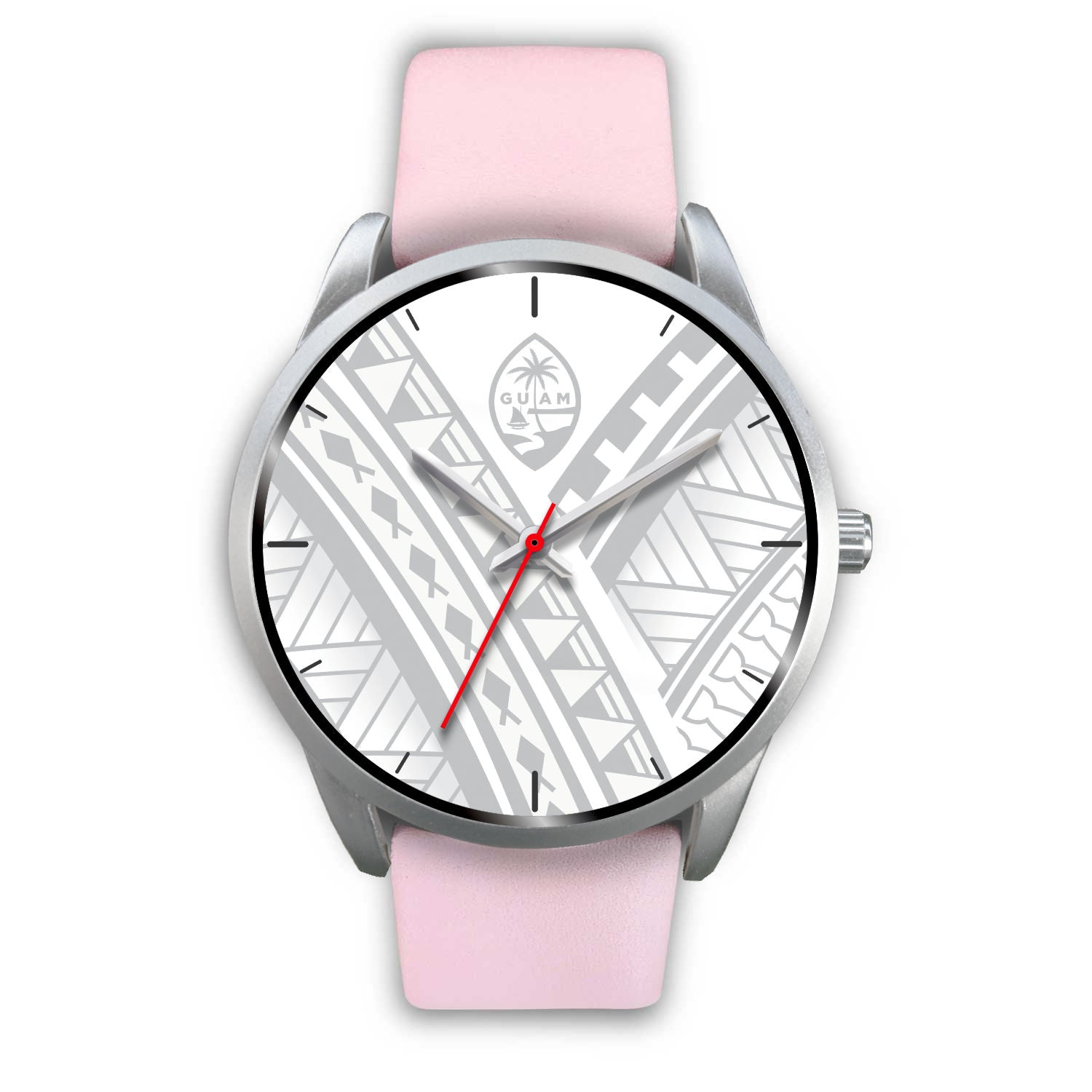 Guam Seal White Tribal Silver Watch