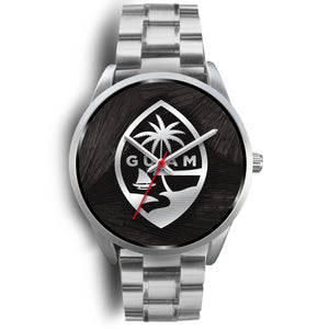 Guam Seal Chamorro Islander Black and Silver Watch