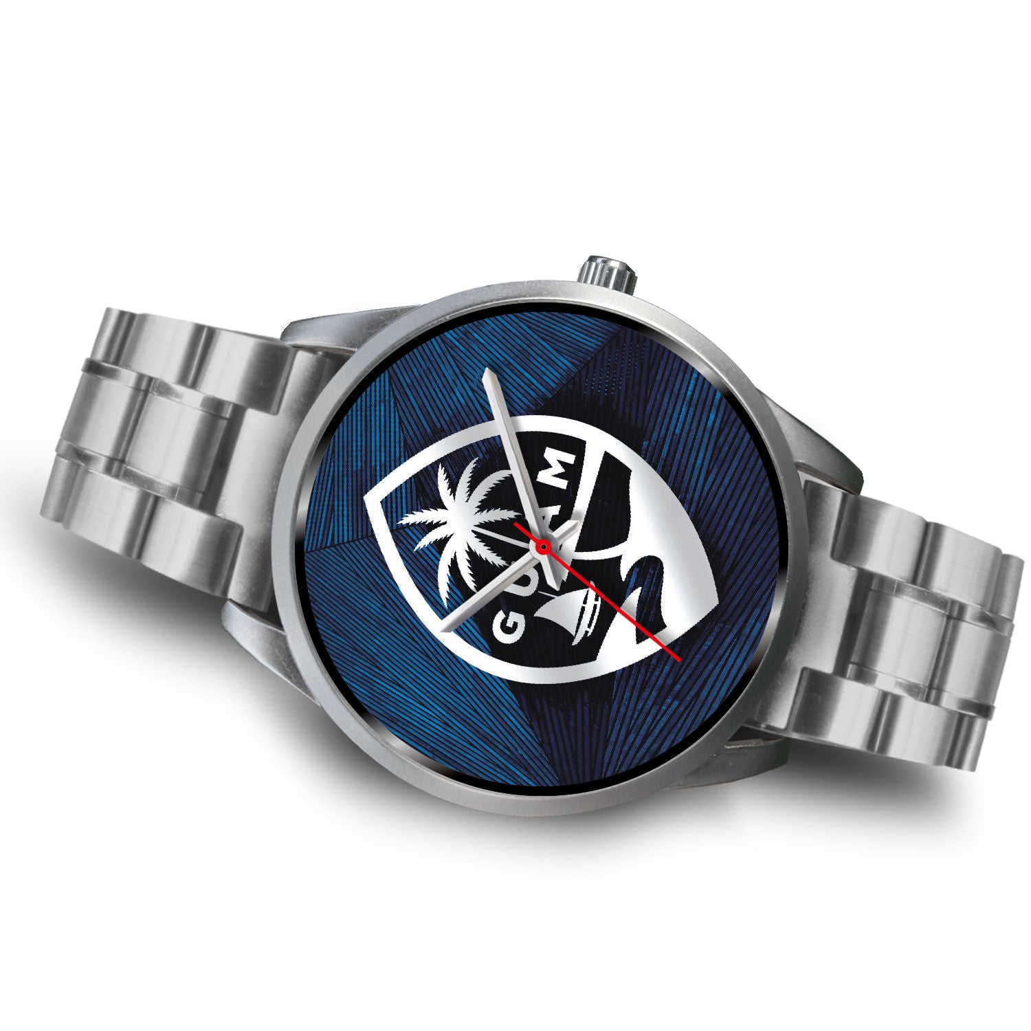 Guam Seal Chamorro Islander Blue and Silver Watch