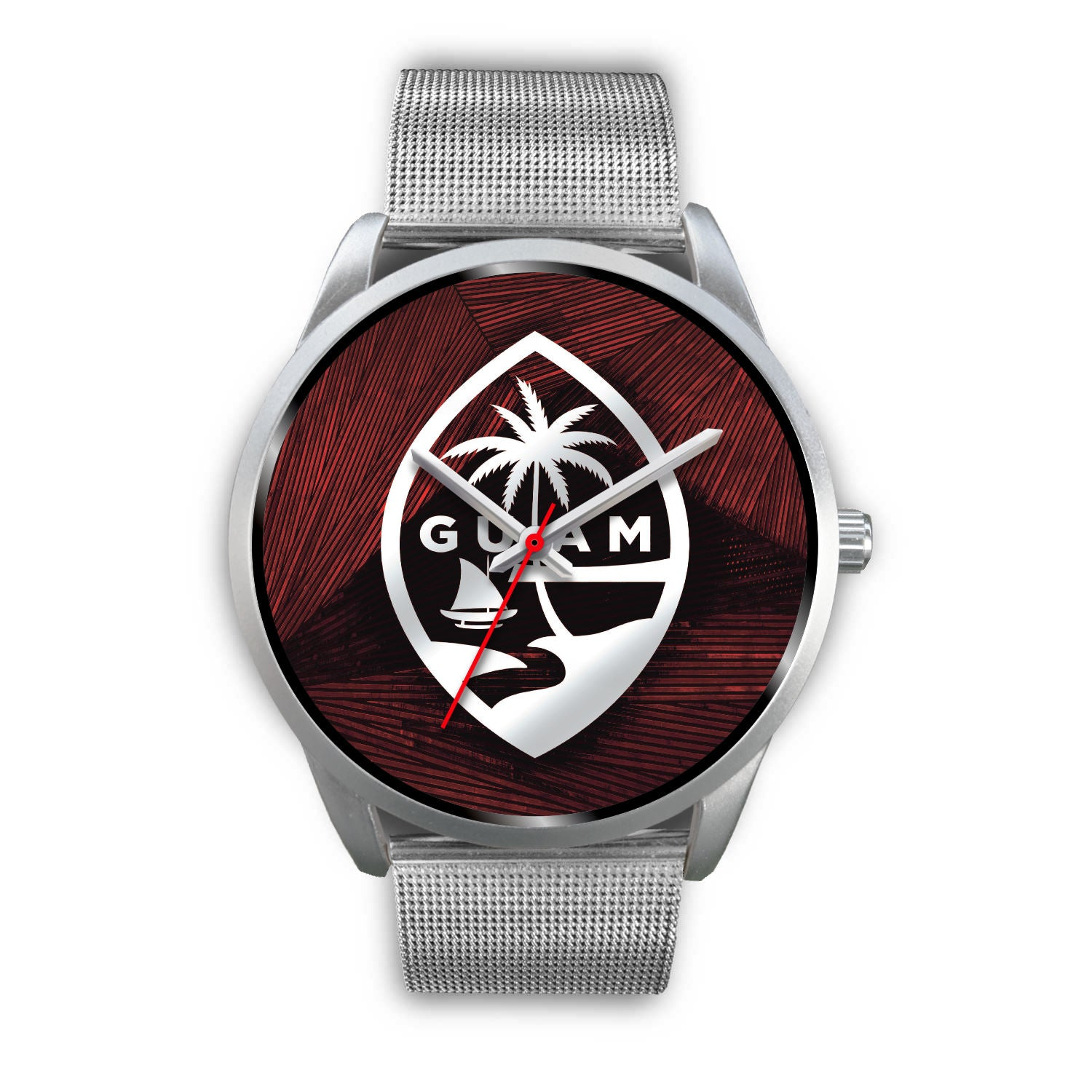Guam Seal Chamorro Islander Red and Silver Watch