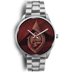 Guam Seal Hook Chamorro Islander Red and Silver Watch
