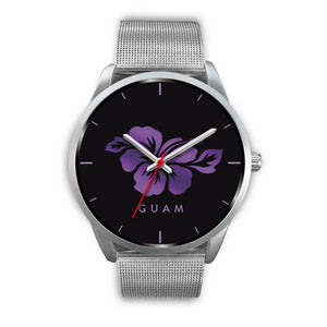 Guam Purple and Black Hibiscus Silver Watch