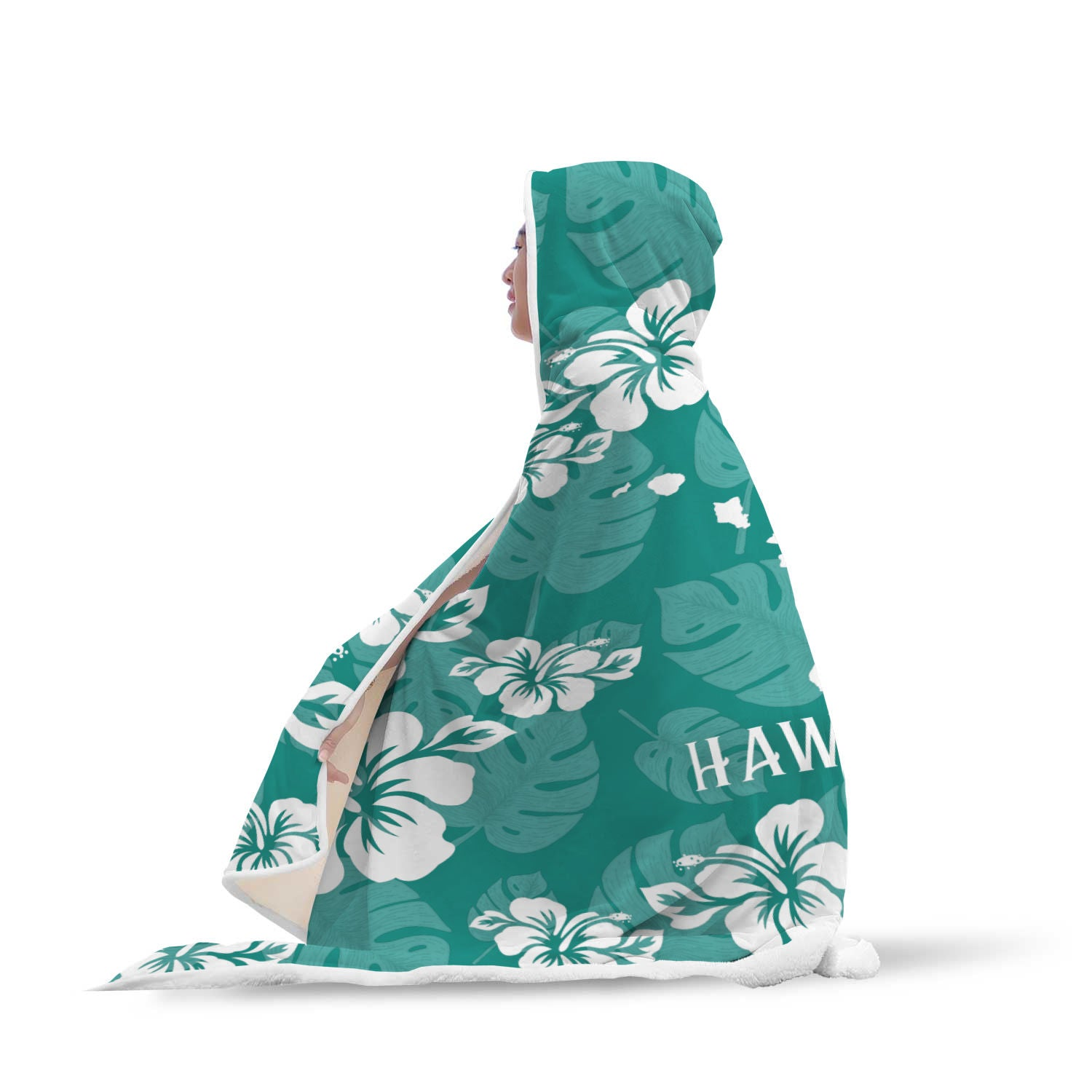 Hawaii Islands Teal Hibiscus Sherpa Hooded Blanket