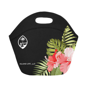Guam Pink Hibiscus Art Neoprene Lunch Bag Small