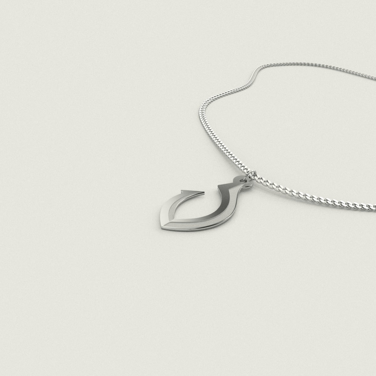 Guam CNMI Fish Hook Sterling Silver Necklace