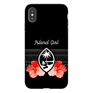 Guam Island Girl Tribal Hibiscus Premium Glossy Tough Phone Case