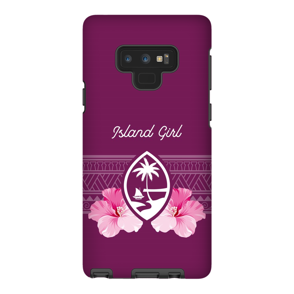 Guam Island Girl Purple Tribal Hibiscus Premium Glossy Tough Phone Case