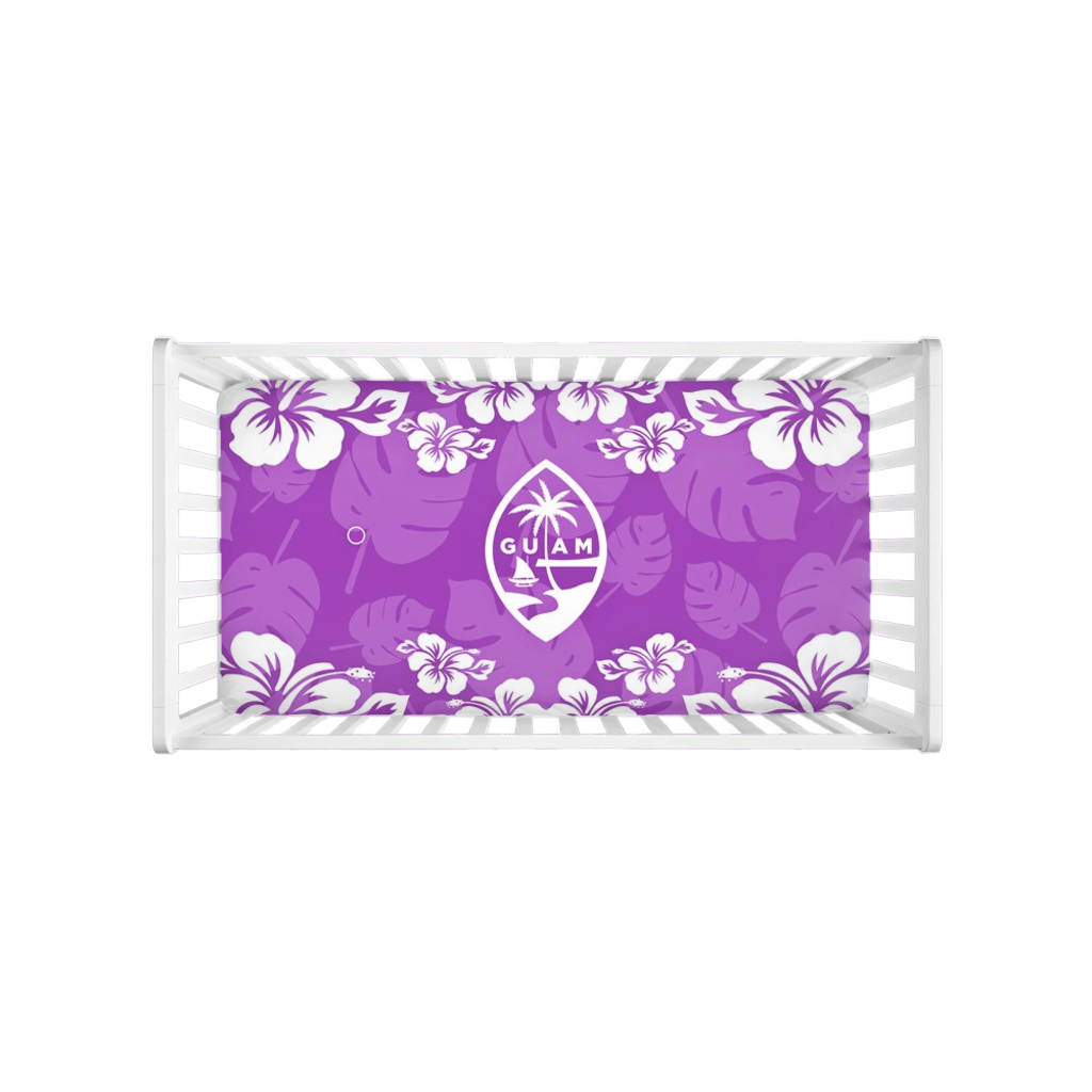 Guam Seal Purple Hibiscus Baby Crib Sheet
