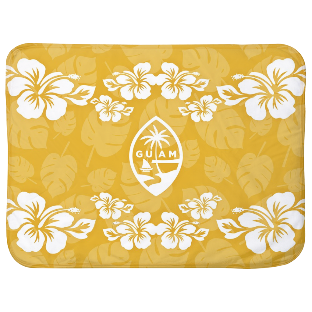 Guam Seal Yellow Gold Hibiscus Baby Sherpa Blanket