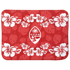 Guam Seal Red Hibiscus Baby Sherpa Blanket