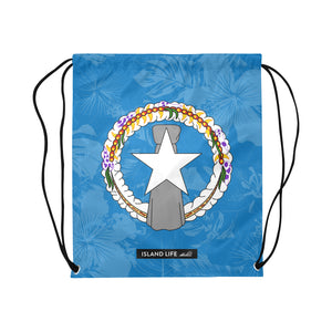 CNMI Floral Flag Large Drawstring Bag