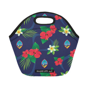 Guam Flag Flowers Neoprene Lunch Bag Small