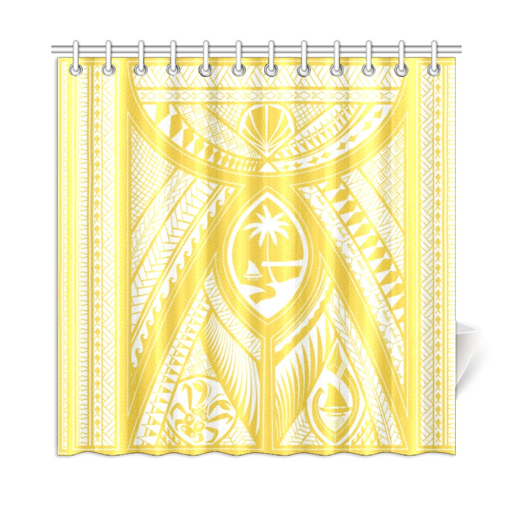 "Guahan Tribal Gold Shower Curtain 72""x72"""