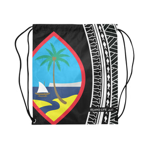 Hafa Adai Guam Tribal Black Large Drawstring Bag