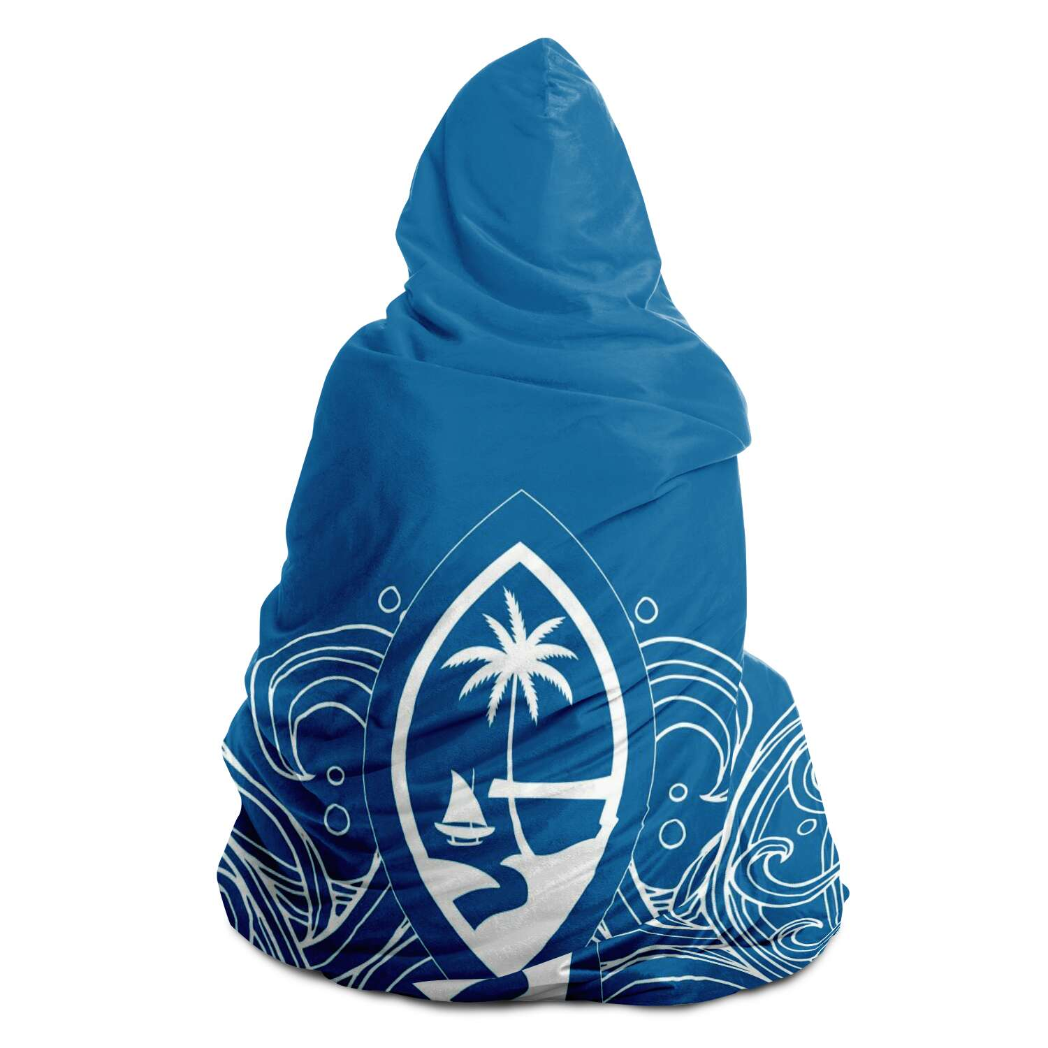 Guam Seal Hand Drawn Waves Premium Sherpa Hooded Blanket