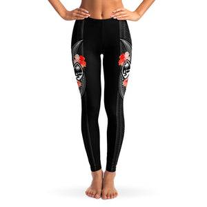 Guam Tribal Red Hibiscus Premium Leggings