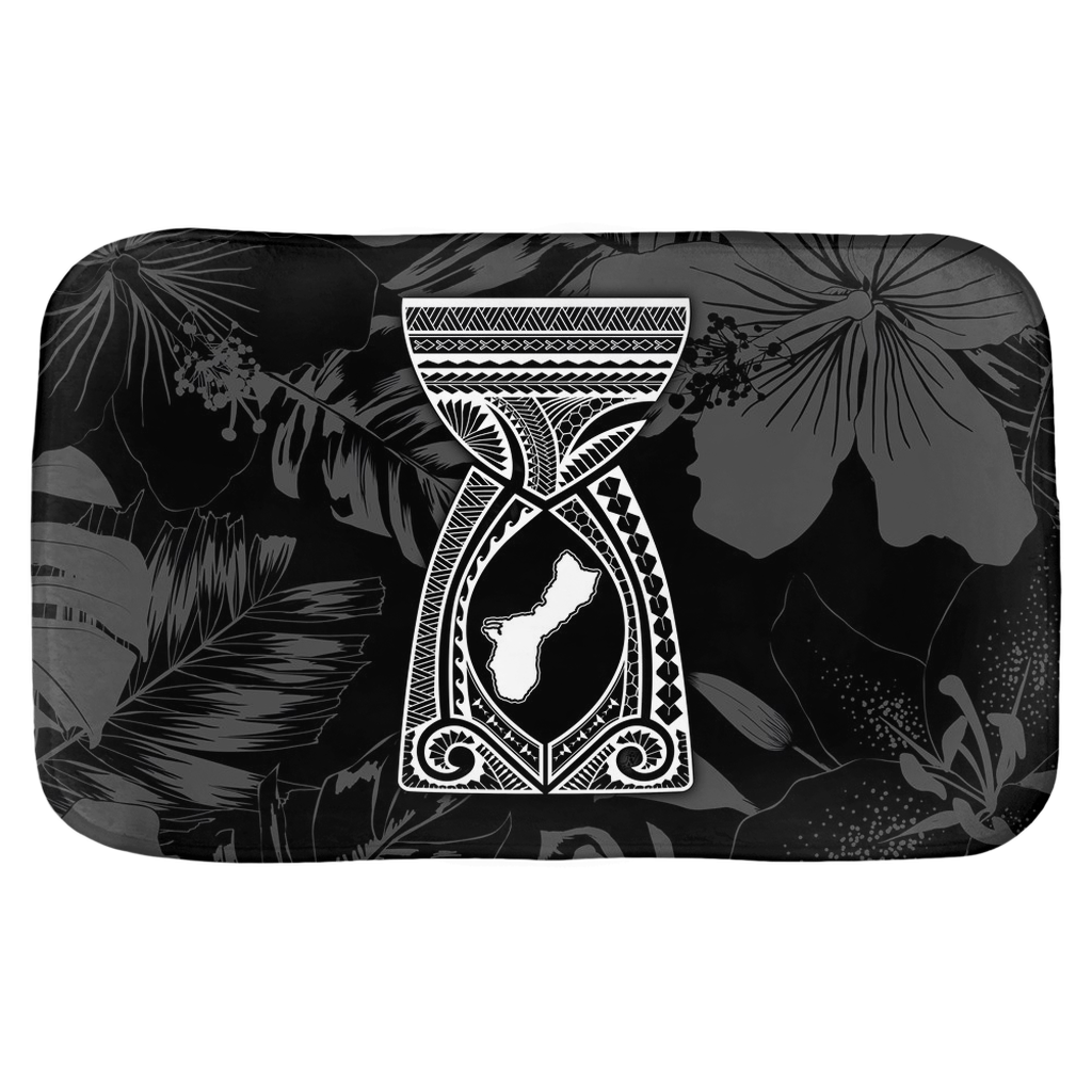 Guam Latte Stone Tribal Black Bath Mat