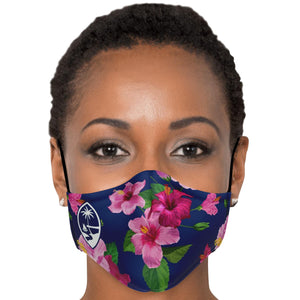 Guam Fuschia Hibiscus Face Mask for Youth and Adults