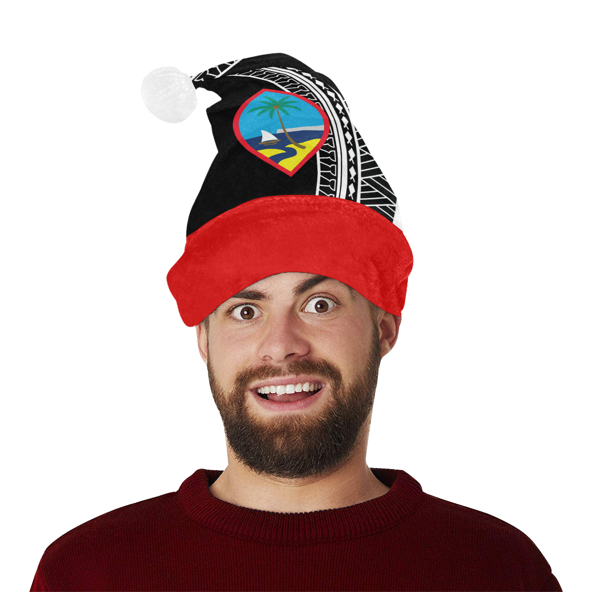 Guam Seal Tribal Christmas Santa Hat Santa Hat