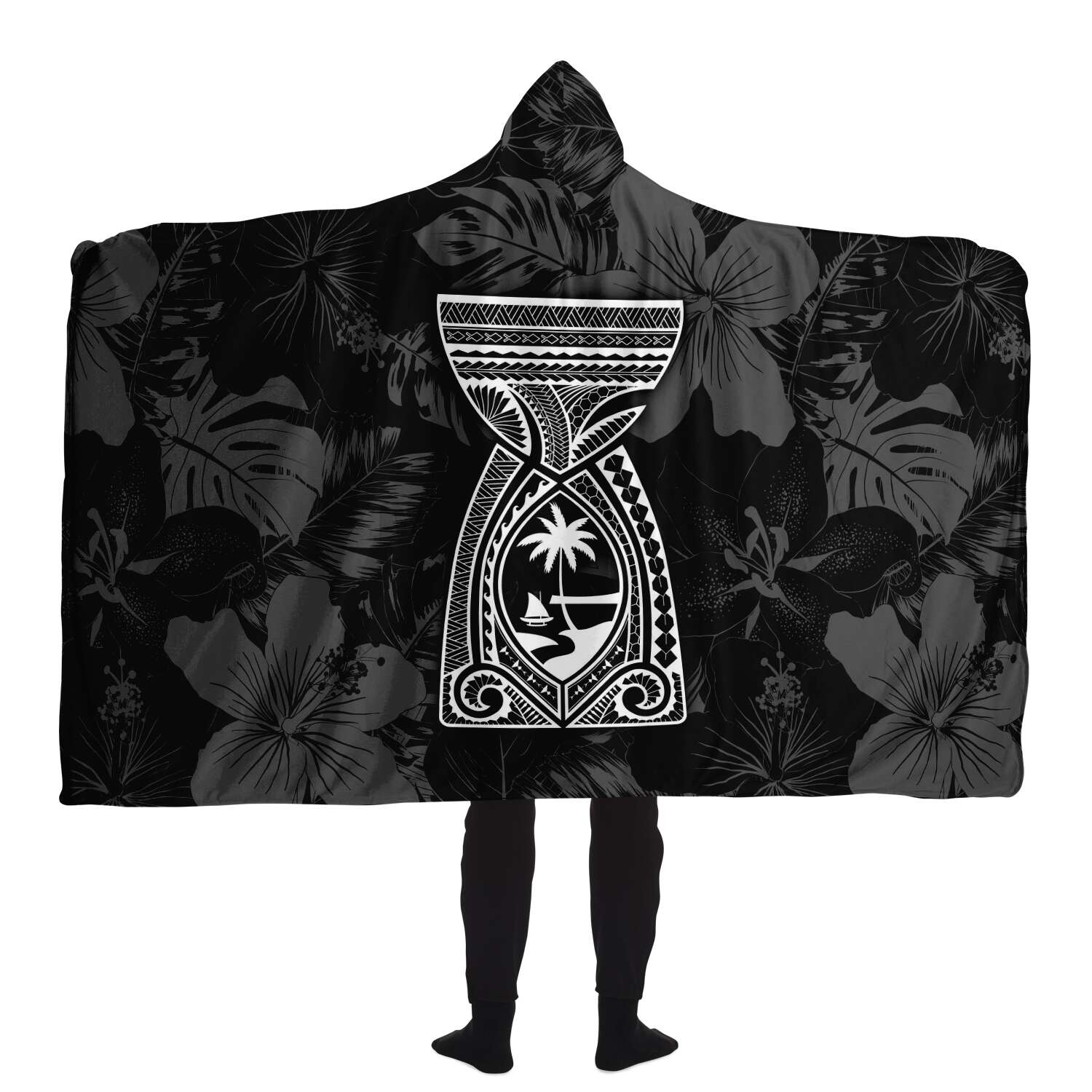 Latte Stone Guam Tribal Black Premium Sherpa Hooded Blanket