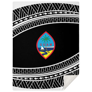 Guam Seal Tribal Black Microfleece Blanket