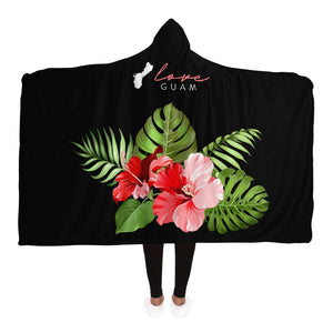 Love Guam Red Hibiscus Premium Sherpa Hooded Blanket