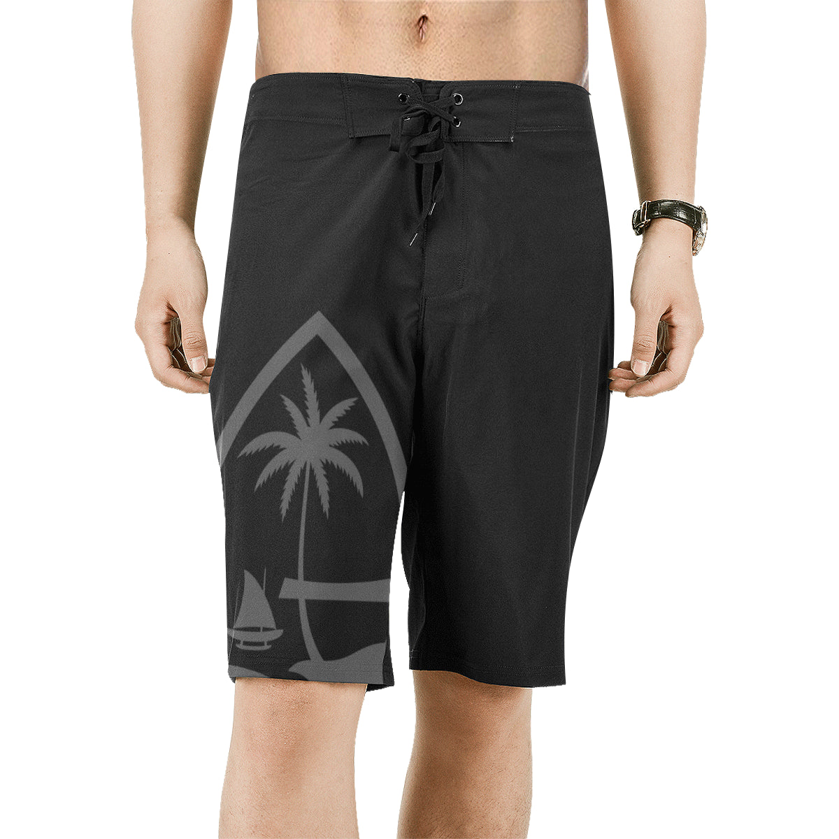 Guam Seal Mens Black All Over Print Board Shorts