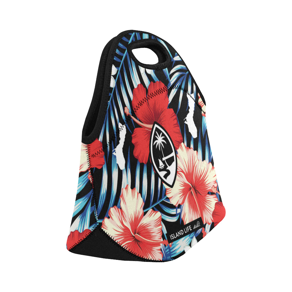 Guam Tropical Floral Neoprene Lunch Bag Small