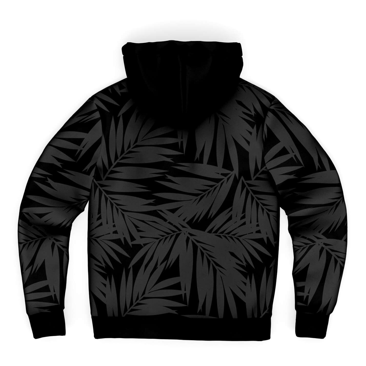 Hafa Adai Coconut Leaves Guam CNMI Black Microfleece Hoodie Jacket