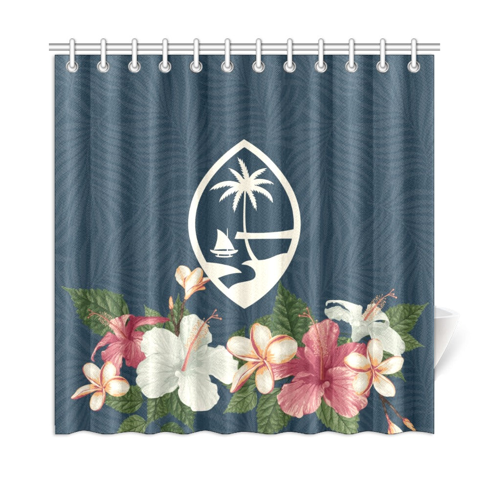 "Guam Seal Vintage Hibiscus Shower Curtain 72""x72"""