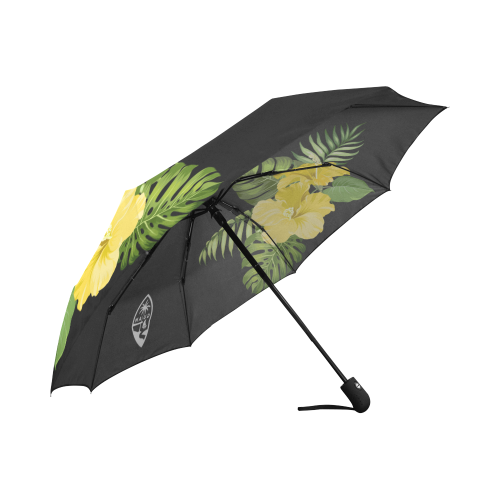Guam Seal Yellow Hibiscus Black Automatic Folding Umbrella