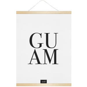Guam Text Hanging Canvas Poster with Wood Frame